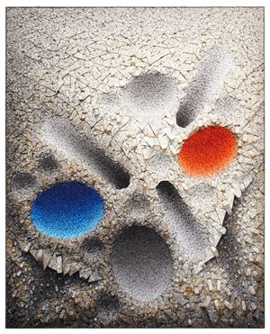 Aggregation 08 - D075 Blue & Red by Chun Kwang Young contemporary artwork