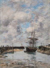 Trouville, Chenal marée basse by Eugène Boudin contemporary artwork painting, works on paper