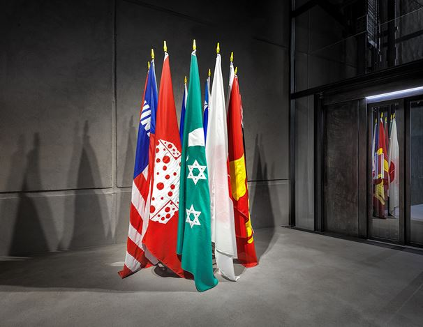 William N. Copley, Imaginary Flags of Ten Countries (1972). Courtesy KEWENIG. Berlin. Photo: Lepkowski Studios, Berlin.