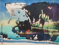 Untitled (Fantasy Landscape with Seaside Village) by Luis Chan contemporary artwork works on paper