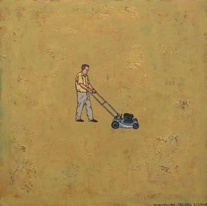 Man Mowing by Dick Frizzell contemporary artwork
