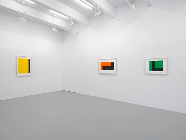 Exhibition view:Carmen Herrera, Paintings on Paper, Lisson Gallery, New York (3 May–10 June 2017). Courtesy Lisson Gallery, New York.