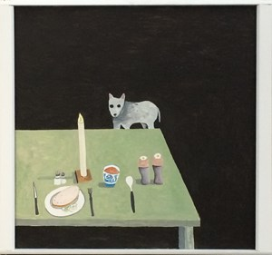 Food on table, dog begging by Noel McKenna contemporary artwork
