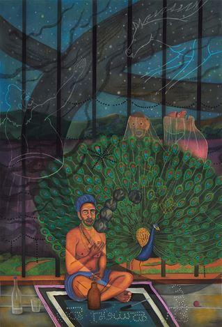 Abul Hisham,Complaining Man II(2018). Soft pastel and bindis on paper. 213.4 x 152.4 cm. Courtesy Galerie Mirchandani + Steinruecke, Mumbai.