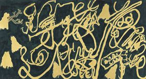Cursive Calligraphy in Gold and Ink by Wei Ligang contemporary artwork