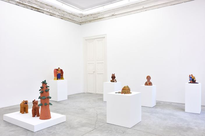 Exhibition view: Sally Saul, Hideout, Almine Rech, Paris (18 January–29 February 2020). © Sally Saul. Courtesy the Artist and Almine Rech.Photo: Rebecca Fanuele.