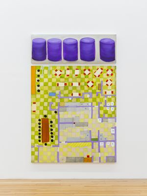 Purple Ottomans - Restaurant Mandala by Kim Dingle contemporary artwork