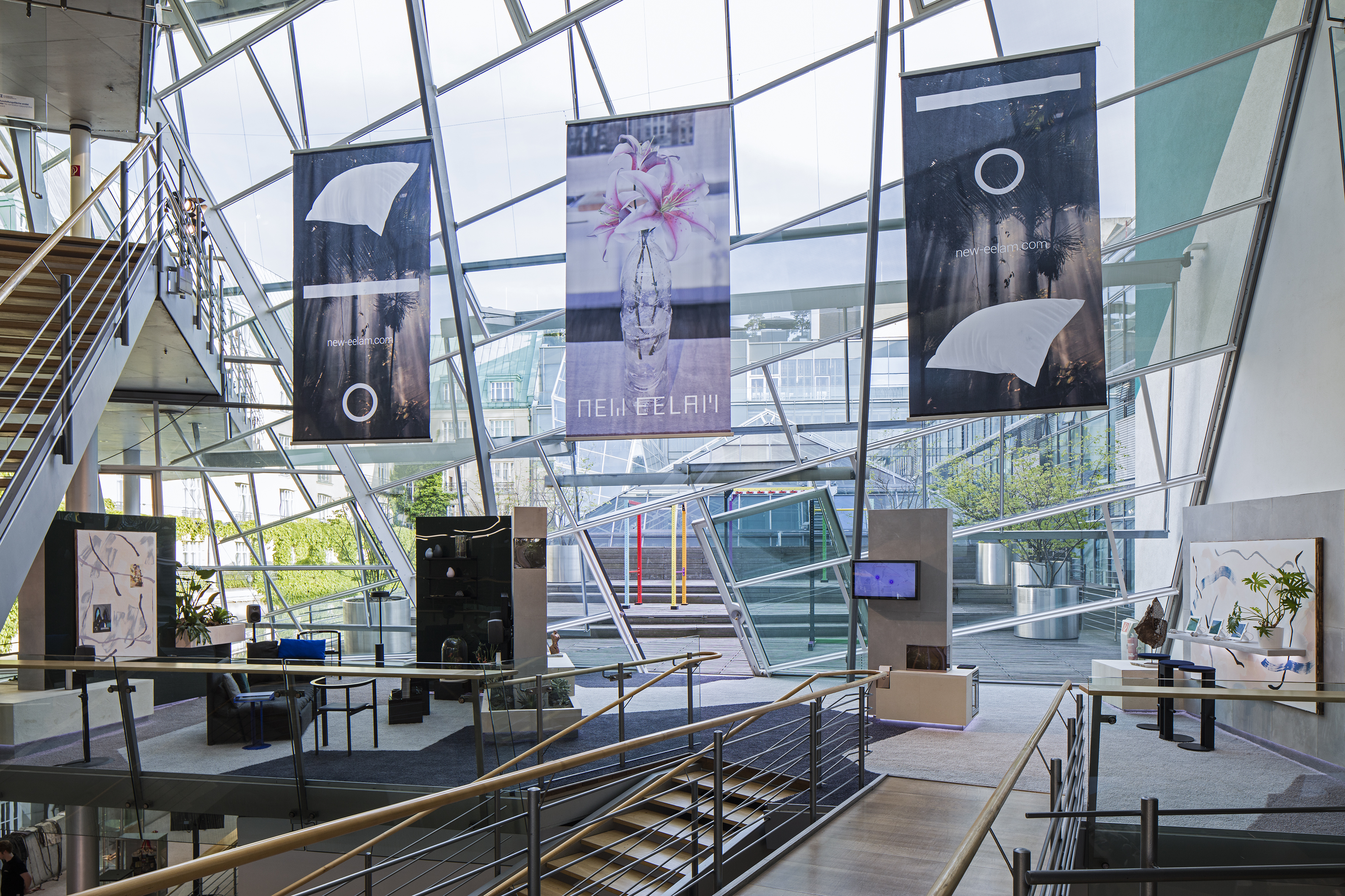 Image: Christopher Kulendran Thomas, Exhibition view, New Eelam, 2016. Mixed media. Developed in collaboration with Annika Kuhlmann. Film production: Klein and West and Mark Reynolds. Design: Manuel Bürger and Jan Gieseking. Architecture: Martti Kalliala. Production design: Marcelo Alves. Biosphere: Matteo Greco. Creative Director: Annika Kuhlmann. Courtesy Christopher Kulendran Thomas; New Galerie, Paris. Photo: Timo Ohler.