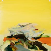 game at sunset by Hollis Heichhemer contemporary artwork painting, works on paper