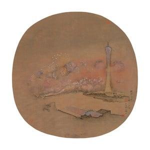 Vista of Guangzhou-Canton Tower on a Spring evening by Xu Jianguo contemporary artwork