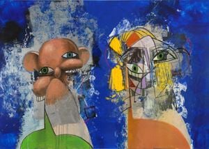 Double Heads on Blue and Silver by George Condo contemporary artwork
