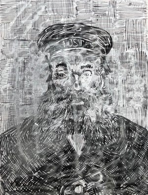 Portrait of Joseph Roulin by Zhao Zhao contemporary artwork mixed media, textile, textile, textile