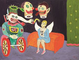 An Angel with Clowns by Heri Dono contemporary artwork