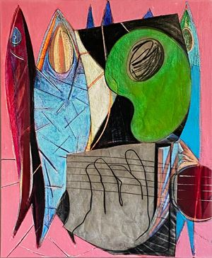 Big Composition 6 (Fishes and Strings) by Aurélie Gravas contemporary artwork