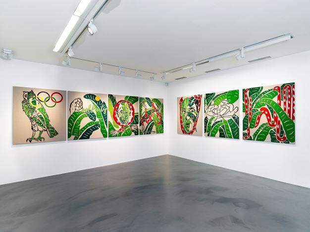 Exhibition view: Joel Mesler, The Alphabet of Creation (for now), Simon Lee Gallery, London (20 April–26 May 2018). Courtesy Simon Lee Gallery.