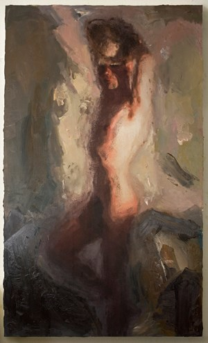 Self Portrait in the Nude with Hat by Christian Schoeler contemporary artwork