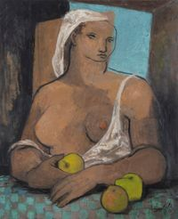 Grosse fille aux pommes by Jean Souverbie contemporary artwork painting, works on paper