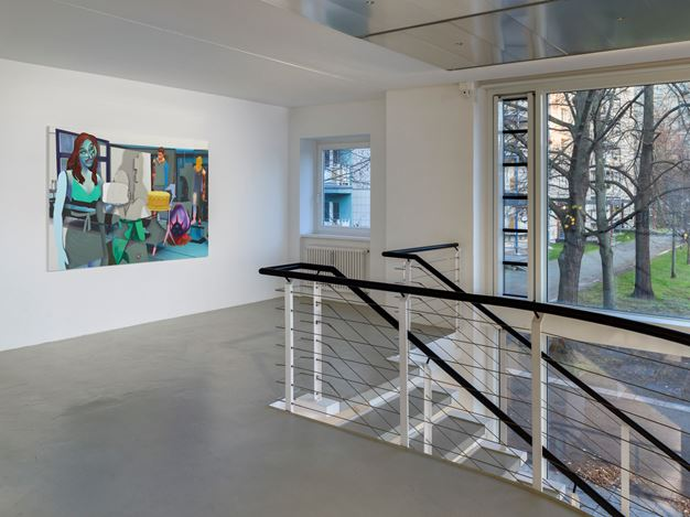 Exhibition view: Group Exhibition,Infinite Games, Capitain Petzel, Berlin (21 November 2020–30 January 2021). Courtesy Capitain Petzel. Artworks:Pieter Schoolwerth,Shifted Sims #21 (Dissociative Identity Disorder Custom Trait)(2020).