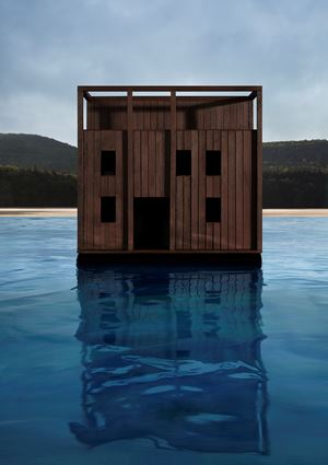 Dark Cube on Water by James Casebere contemporary artwork