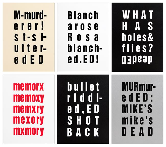 The Ed Prints (Surprise, Technical Difficulties, Spit-it Out, Blanks, Ed-Ed) by Kay Rosen contemporary artwork