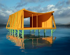 Orange House on Water by James Casebere contemporary artwork