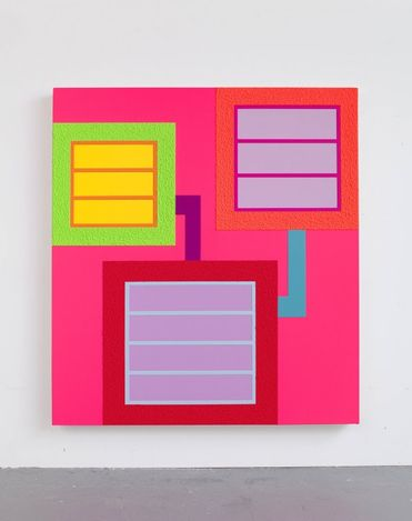 Peter Halley,Law of Attraction (2021). Acrylic, fluorescent acrylic and Roll-A-Tex on canvas. 167.6 x 152.4 cm. © Peter Halley. Courtesy the Artist and Almine Rech.