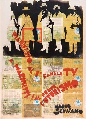 Manifesto al 1° Canale TV a Marinetti e al Primo Futurismo by Mario Schifano contemporary artwork
