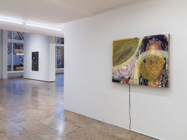 Exhibition view: Group Exhibition,Infinite Games, Capitain Petzel, Berlin (21 November 2020–30 January 2021). Courtesy Capitain Petzel. Artworks:Sanya Kantarovsky, Uramado (2020),Jorge Pardo,Untitled (2017).