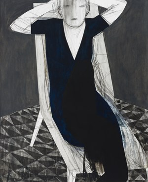 Untitled (White chair/blue dress) by Iris Schomaker contemporary artwork