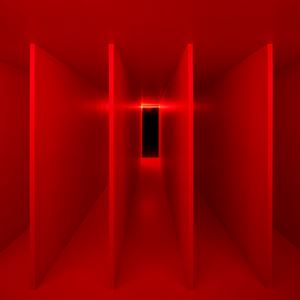 Ambiente spaziale a luce rossa [Spatial Environment in Red Light] by Lucio Fontana contemporary artwork sculpture, installation