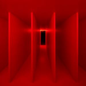 Ambiente spaziale a luce rossa [Spatial Environment in Red Light] by Lucio Fontana contemporary artwork