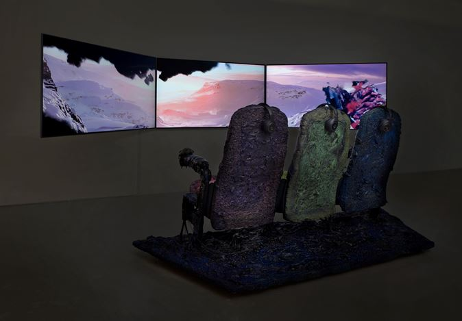 Jon Rafman, Stan VanDerBeek, Curated by Johannes Fricke Waldthausen, 2017, Exhibition view at Sprüth Magers, Los Angeles.Photography by: Robert Wedemeyer. Courtesy Sprüth Magers.