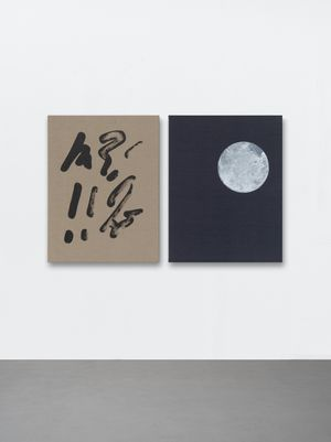 Natural and conventional signs (Some painted signage, whilst others looked up at the night sky) by Ryan Gander contemporary artwork painting