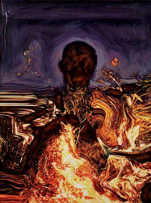 SELF IMMOLATOR (REFLECTED SELF PORTRAIT) by Jin Meyerson contemporary artwork