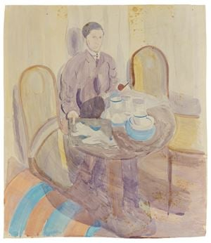 Man at table, holding a pipe and drawing by Otto Meyer-Amden contemporary artwork