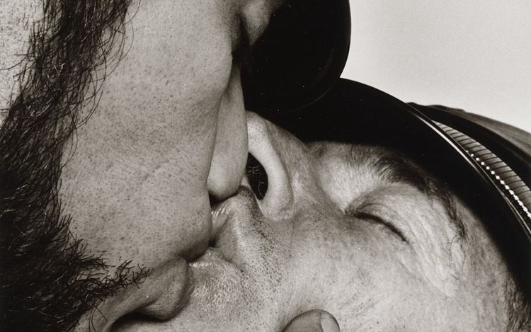 Peter Hujar, Jay and Fernando [Two Men in Leather Kissing] (ca. 1966) (detail). Vintage gelatin silver print. 27.9 cm × 17.8 cm, image 35.6 cm × 27.9 cm. © The Peter Hujar Archive.