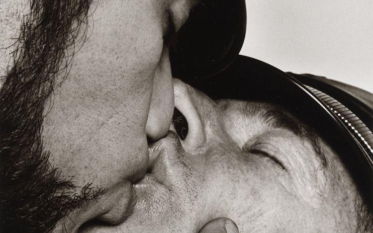 Peter Hujar,Jay and Fernando [Two Men in Leather Kissing] (ca. 1966) (detail). Vintage gelatin silver print. 27.9 cm × 17.8 cm, image 35.6 cm × 27.9 cm. © The Peter Hujar Archive.