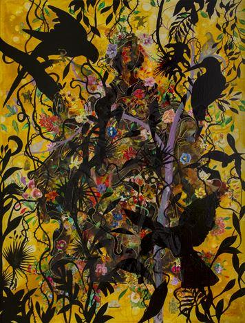 Priyantha Udagedara,Serendib 3,Mixed Media on Canvas, 160cm x 120cm. Courtesy Saskia Fernando Gallery.