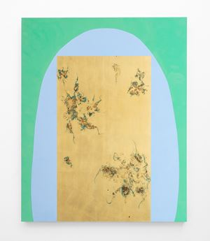 Hair orchid sweat print cyan shape with verdigris by Pierre Vermeulen contemporary artwork painting, sculpture
