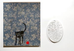 Old black cat and red rubber ball by Jenny Watson contemporary artwork