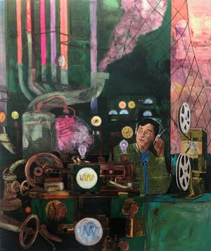 The Great and Powerful OZ's AV Guy (Or, Behind the Other Curtain) by Hernan Bas contemporary artwork