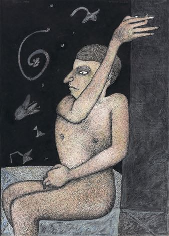 JOGEN CHOWDHURY, The Dreaming Boy (1999). Pen, ink and pastel on paper. 69.3 x 49.5 cm / 27.3 x 19.5 in. CourtesyGalerie Mirchandani + Steinruecke, Mumbai.