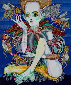and the little toe said….listen, listen to the earth by Del Kathryn Barton contemporary artwork