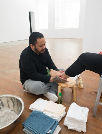 Exhibition view: Kalisolaite 'Uhila, First will be last and last, first (11 August–1 September 2018). Courtesy Michael Lett.