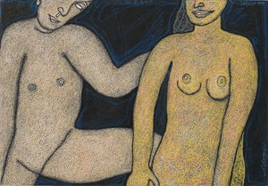 Couple – II by Jogen Chowdhury contemporary artwork