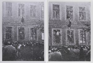 Notes on Architecture: Frau Schulze escapes (diptych) by Richard Forster contemporary artwork