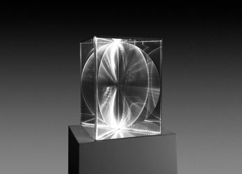 Heinz Mack, Transparency and Radiance (2009). Acrylic, Fresnel lens and electricity. 63 x 44.5 x 44.5 cm. Courtesy Galeria Nara Roesler.