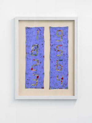 Counter Painting on Kimono Sode - Blue Violet by Tatsuo Miyajima contemporary artwork