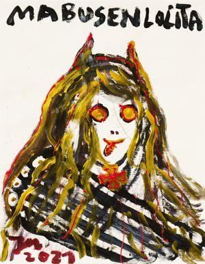 """""""WAS IST DAS, ZEIG' MAL, DAS IST, DAS QUASTENFLOSSER IST SPASS! (RAUMJAMBUSSI)"""" by Jonathan Meese contemporary artwork"""