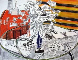 Glastisch mit Blumen by Norbert Tadeusz contemporary artwork mixed media